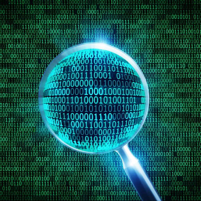 green binary code and 3d magnifier